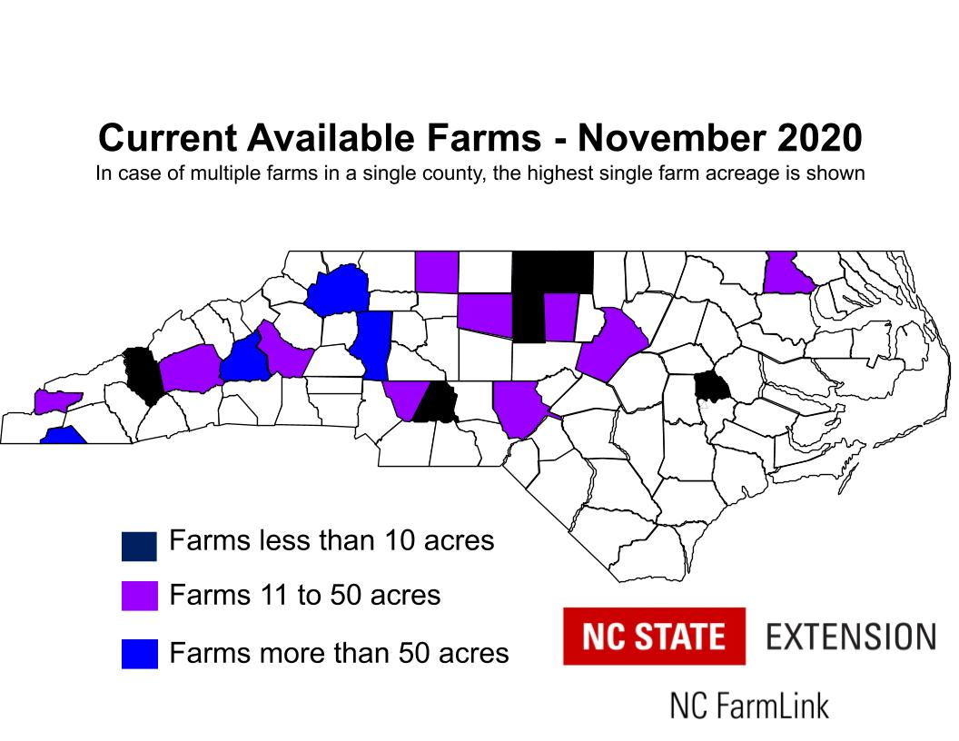 map of current available farms in NC
